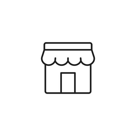 marketplace thin line icon, store facade on white background