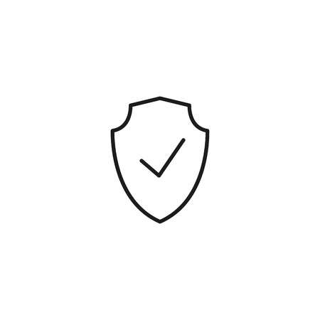 protection checked thin line icon on white background