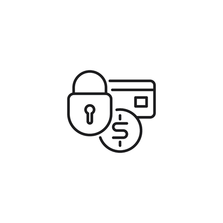 secure payment, safety shopping thin line icon on white background Illustration