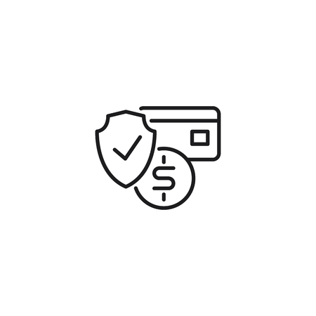 protected payment, safety shopping thin line icon on white background 向量圖像