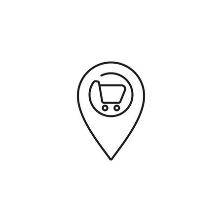 supermarket location thin line icon on white background