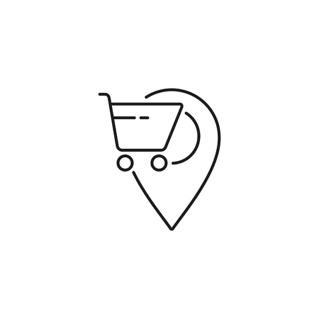 store location thin line icon on white background
