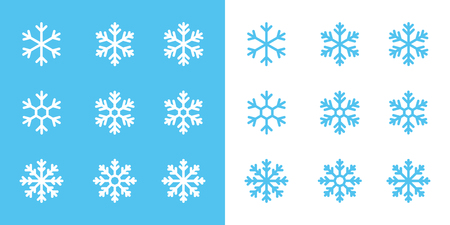 snowflake line icons set on blue and white background 向量圖像