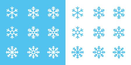 snowflake line icons set on blue and white background Illustration