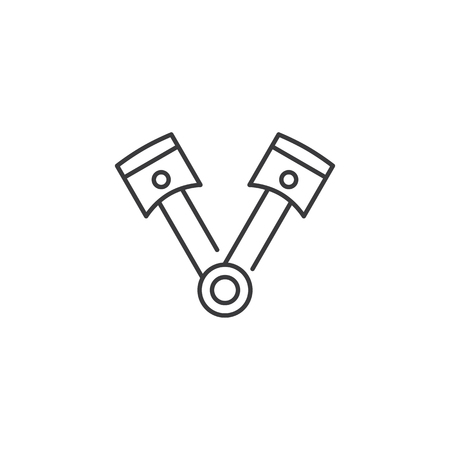 thin line pair of pistons icon on white background