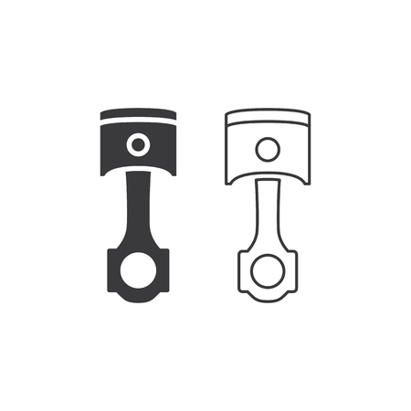 piston line and solid icon on white background 向量圖像