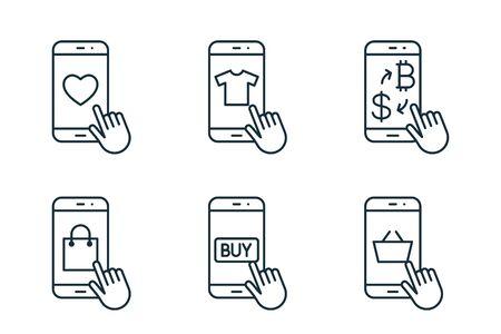 mobile shopping thin line icons set on white background
