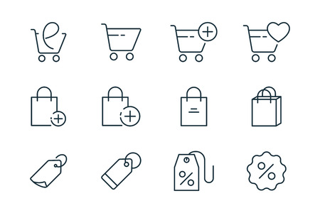 online shopping thin line icons set on white background