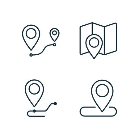 location and route thin line icons set on white background Illusztráció