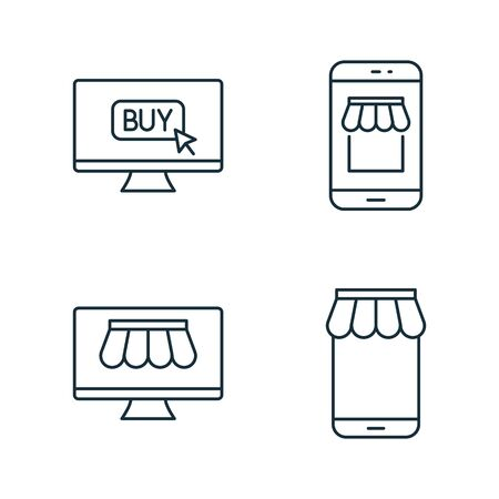 internet marketplace and online market thin line icons set on white background