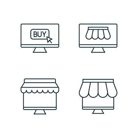 shopping by online market thin line icons set on white background