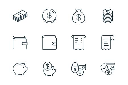 e-commerce finance thin line icons set on white background