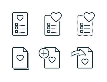 wishlist and favorites thin line icons set on white background Illustration