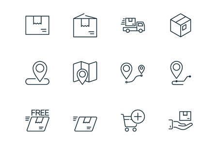 shipping and delivery thin line icons set on white background Illusztráció