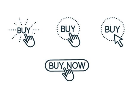 touch and press buy button thin line icons set on white background 向量圖像