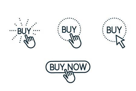 touch and press buy button thin line icons set on white background Illusztráció