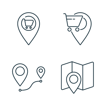 supermarket location and route thin line icons set on white background