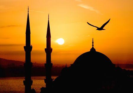 mezquita: Vista de Sultanahmet por la noche, Istanbul