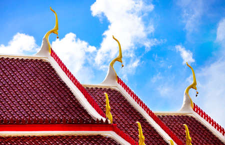 thai temple: Roof of Buddhist temple with ornaments