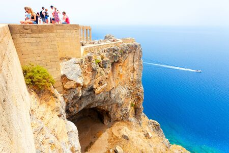 Breathtaking view from the height of Lindos, Greece Stock Photo
