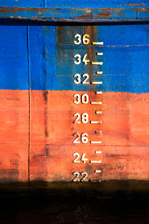 depth measurement: The scale of draft on the ship, close