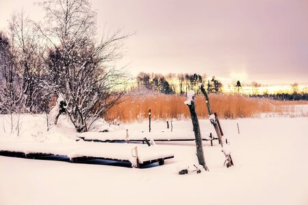 The winter landscape, snow, pier on the lake, trees, yellow reeds