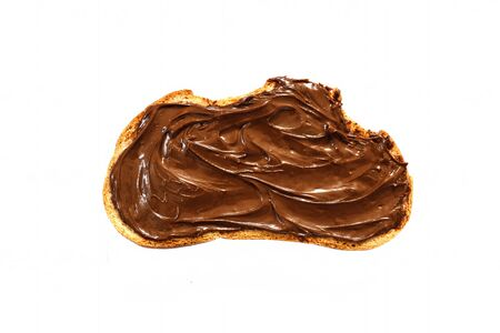 toast with chocolate paste on a white background. isolated. Top view.