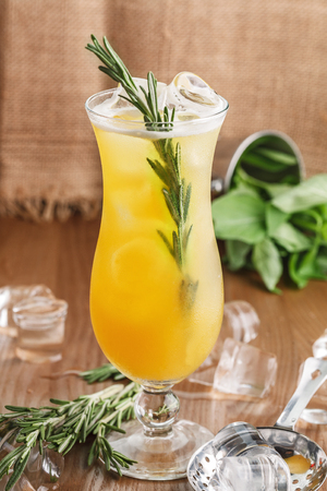 coctail yellow with rosemary for restaurant menu Stock Photo