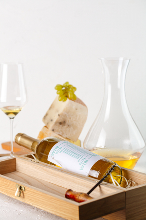 wine, grapes, cheese and nuts. White wine