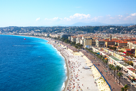 Nice view of the beach on a sunny day. France. Cote dAzur.