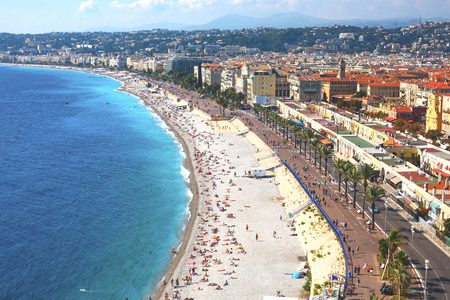 Nice view of the beach on a sunny day. France. Cote dAzur. Standard-Bild - 117141373