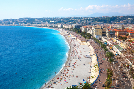 Nice view of the beach on a sunny day. France. Cote dAzur. Standard-Bild - 117141218