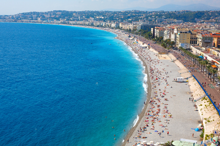 Nice view of the beach on a sunny day. France. Cote dAzur. Standard-Bild - 117141221