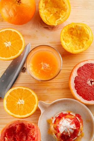 freshly squeezed citrus juice. Orange and grapefruit