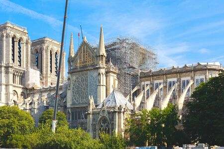 Notre Dame de Paris. Paris. France. After the fire. Beginning of reconstruction. Stock fotó