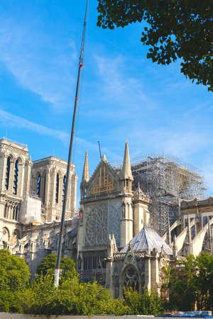 Notre Dame de Paris. Paris. France. After the fire. Beginning of reconstruction. Reklamní fotografie