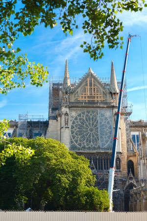 Notre Dame de Paris. Paris. France. After the fire. Beginning of reconstruction. Reklamní fotografie - 157683051