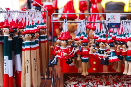 Souvenirs from Italy. Traditional Pinocchio Toy on the market