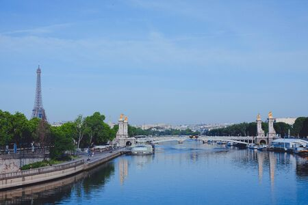 Paris. France. View of the city and the river from the bridge Фото со стока