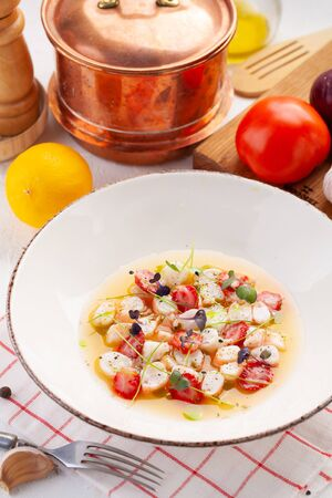 Delicious shrimp ceviche with strawberries, spices and lemon.