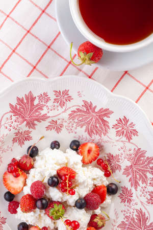 dessert with fresh berries on a red vintage plate. Farm cottage cheese Reklamní fotografie - 151979057