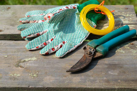 garden tool. Gloves and scissors on a wooden table Foto de archivo