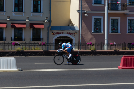 MINSK, BELARUS - JUNE 25, 2019: Cyclist from Azerbaijan participates in Men Split Start Individual Race at the 2nd European Games event June 25, 2019 in Minsk, Belarus