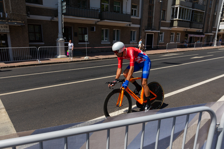MINSK, BELARUS - JUNE 25, 2019: Cyclist from Croatia Barac participates in Men Split Start Individual Race at the 2nd European Games event June 25, 2019 in Minsk, Belarus