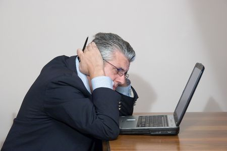 anxiety at the computer Stock Photo
