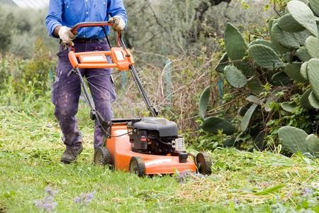 horticulturist: lawnmower Stock Photo
