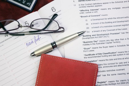 signing authority: office talbe Stock Photo