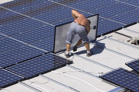 dinamismo: pannelli fotovoltaici Archivio Fotografico