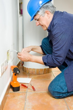 electrical safety: electrician Stock Photo