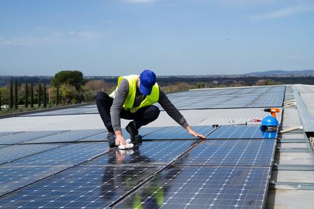 maintenance worker: photovoltaic Stock Photo